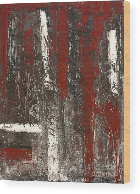 Abstract Wood Print featuring the painting Not So Clear by Marija Kulasevic