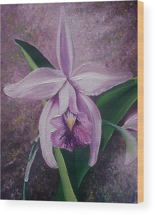 Orchid Purple Floral Botanical Wood Print featuring the painting Orchid Lalia by Karin Dawn Kelshall- Best