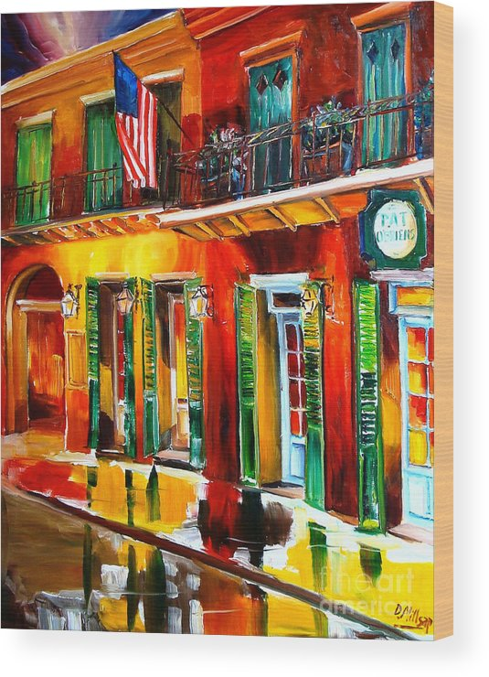 New Orleans Wood Print featuring the painting Outside Pat O'brien's Bar by Diane Millsap