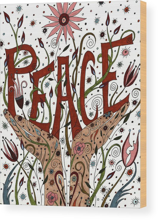 Floral Wood Print featuring the mixed media Peace by Valerie Lorimer
