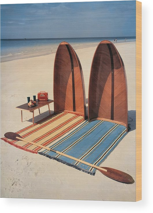 Accessories Wood Print featuring the photograph Pixie Collapsible Boat On The Beach by Lois and Joe Steinmetz