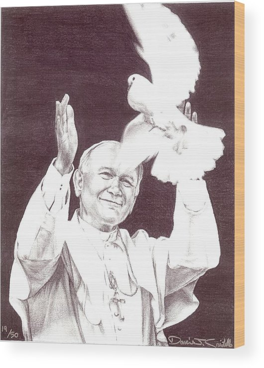 Pope Wood Print featuring the drawing St. John Paul II by Darcie Cristello