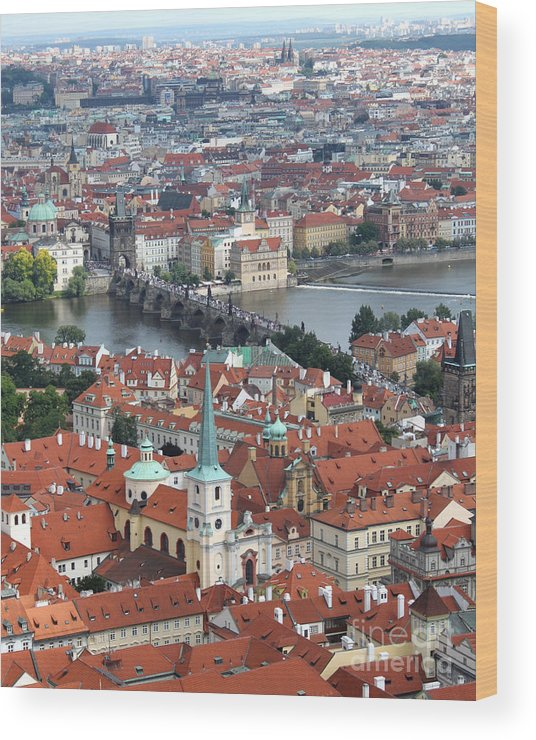 Wood Print featuring the photograph Prague - View From Castle Tower - 10 by Gregory Dyer