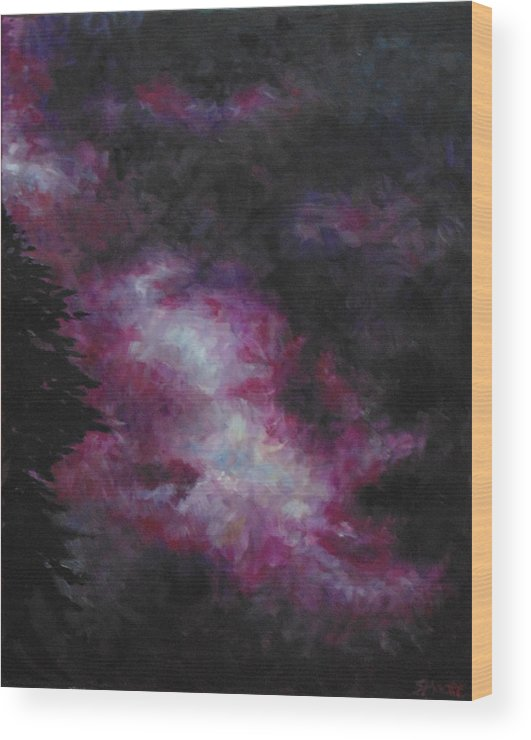 Skyscape Wood Print featuring the painting Purple Storm by Susan Moore