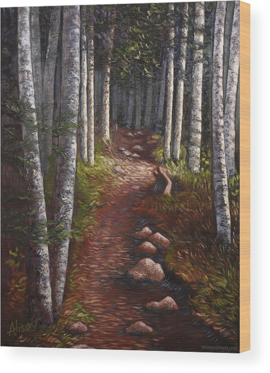 Quoddy Wood Print featuring the painting Quoddy Trail Close Crop by Alison Barrett Kent
