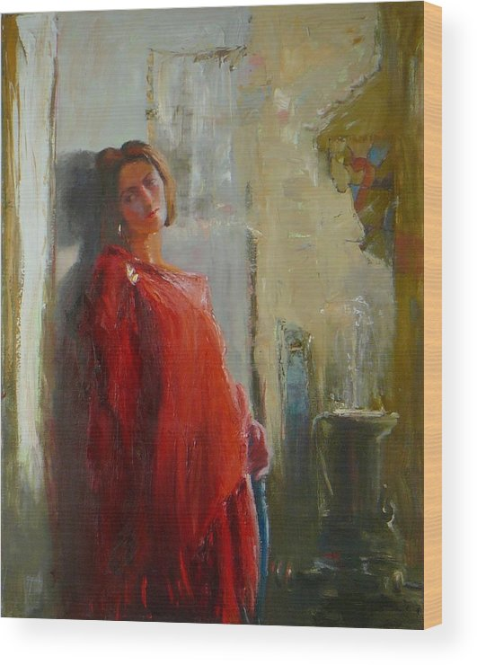 Red Poncho Wood Print featuring the painting Red Poncho by Irena Jablonski