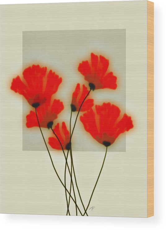 Red Wood Print featuring the digital art Red Poppies On Gray - Abstract Flower Art by Ann Powell