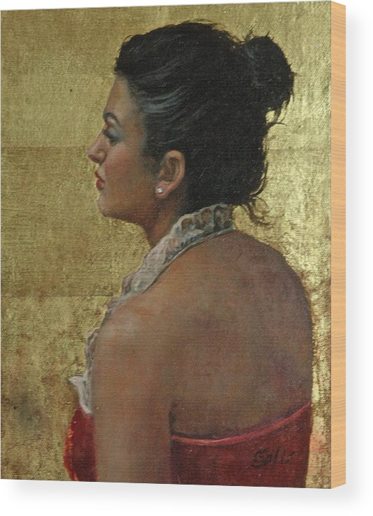 Woman Profile Wood Print featuring the painting Red Velvet And Gold by Colleen Gallo