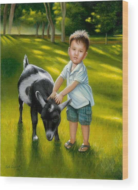 Little Boy Wood Print featuring the painting Riley At The Petty Zoo by Kirk Graham