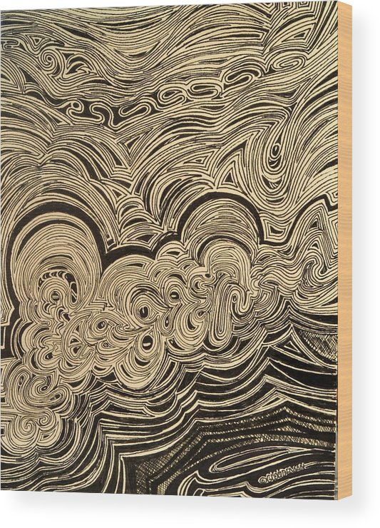 Nonobjective Wood Print featuring the drawing Rough Sea by Denis Gloudeman