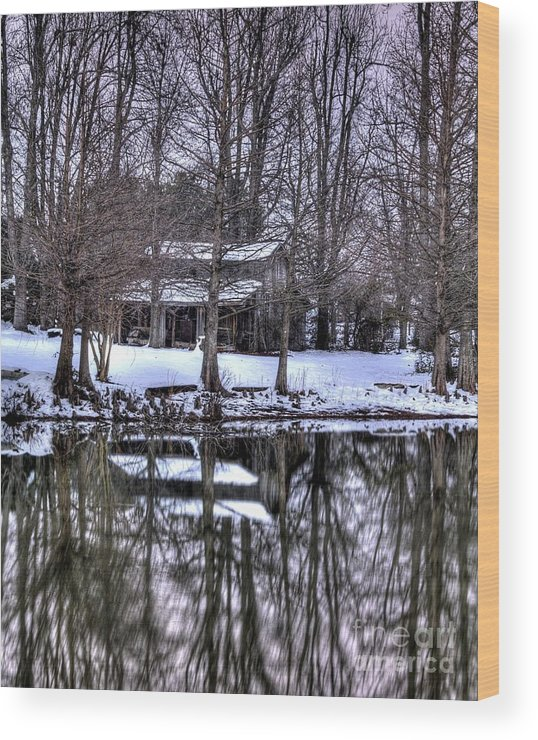 Snow Wood Print featuring the photograph Snow Barn by Kevin Pugh