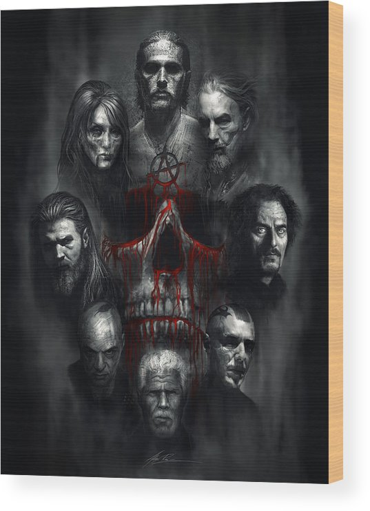 Sons Of Anarchy Wood Print featuring the digital art Sons Of Anarchy Tribute by Alex Ruiz
