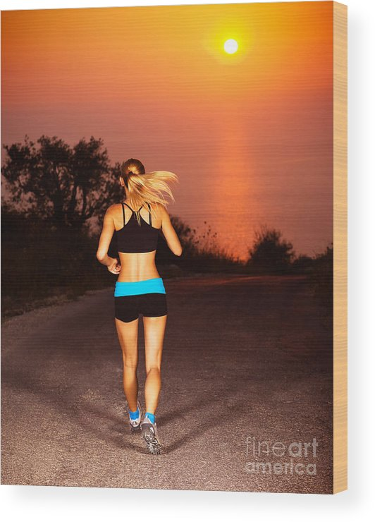Active Wood Print featuring the photograph Sporty Runner Female by Anna Om
