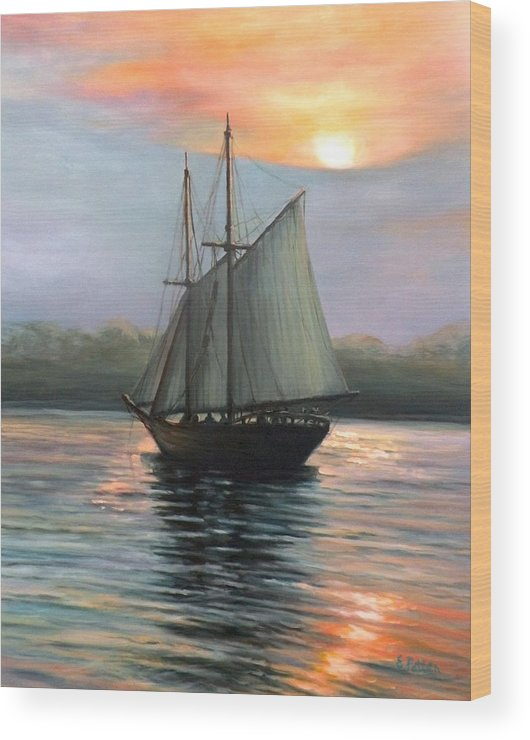 Schooner Wood Print featuring the painting Sunset Sails by Eileen Patten Oliver