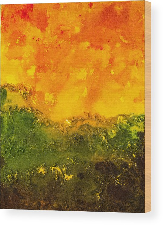 Abstract Wood Print featuring the painting Sunset by Sally Chan