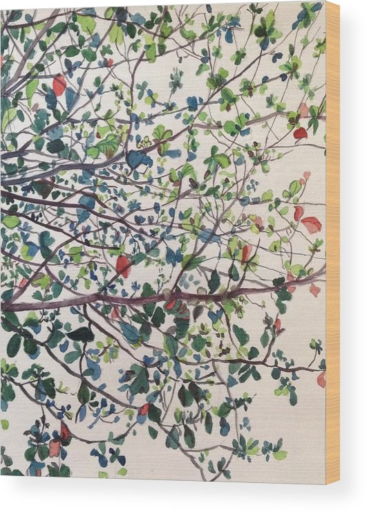 Trees Wood Print featuring the painting The Almond Tree by Aditi Bhatt