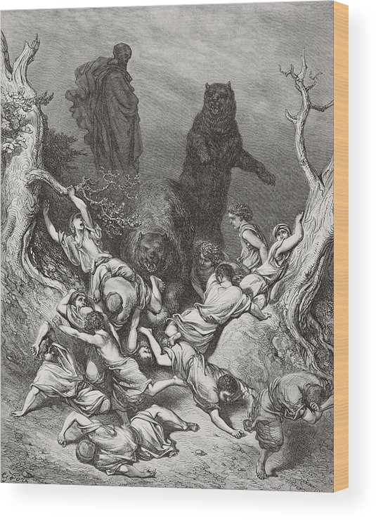 Children Of Bethel Wood Print featuring the painting The Children Destroyed By Bears by Gustave Dore