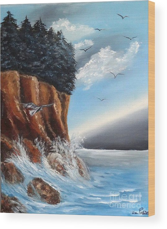 Cliffs. Trees Wood Print featuring the painting The Cliffs by Liz Pritchett