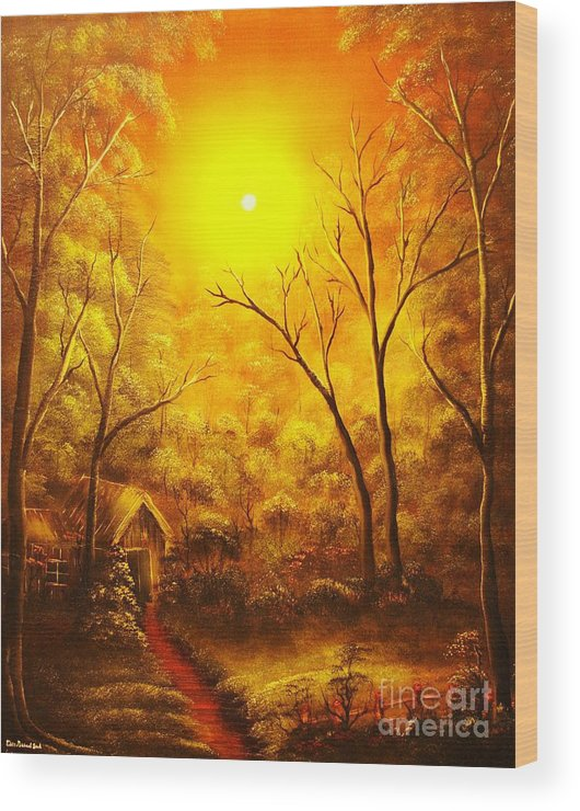 Golden Wood Print featuring the painting The Golden Dream-original Sold-buy Giclee Print Nr 31 Of Limited Edition Of 40 Prints by Eddie Michael Beck