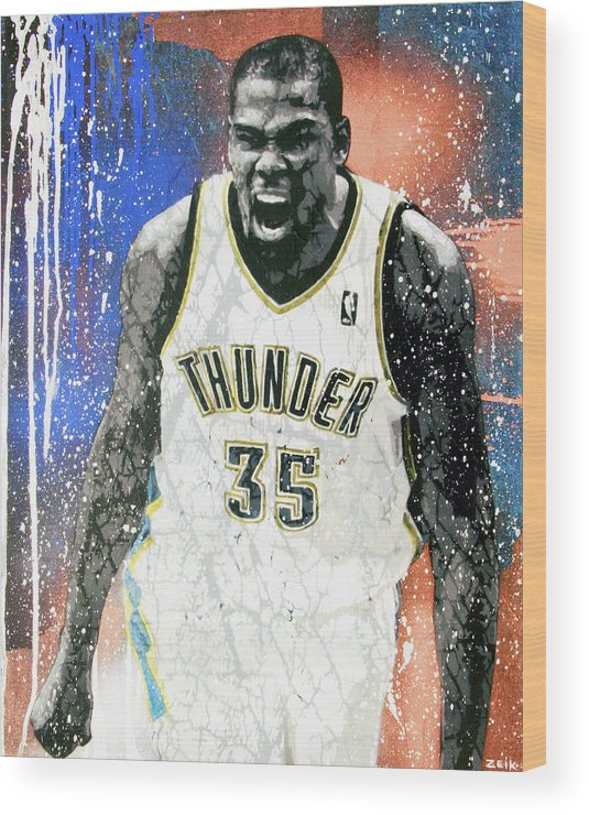 Kevin Durant Wood Print featuring the painting The Servant by Bobby Zeik