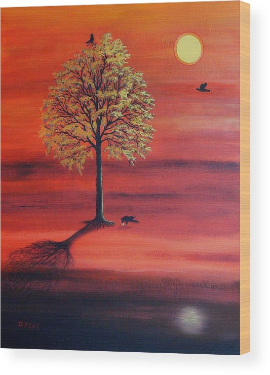 Crow Wood Print featuring the painting Three Ravens by Denise C Peat
