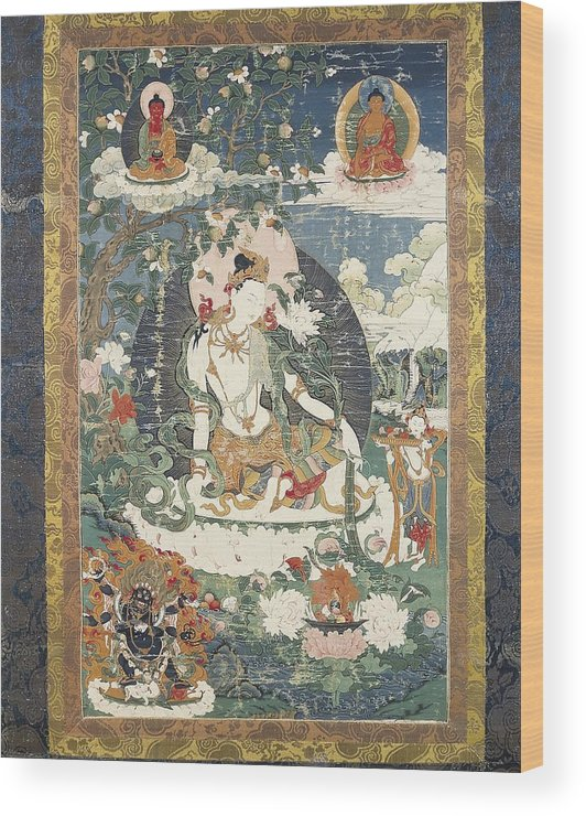 Hsi-tsang Wood Print featuring the photograph Tibetan Tanka With An Illustration by Everett