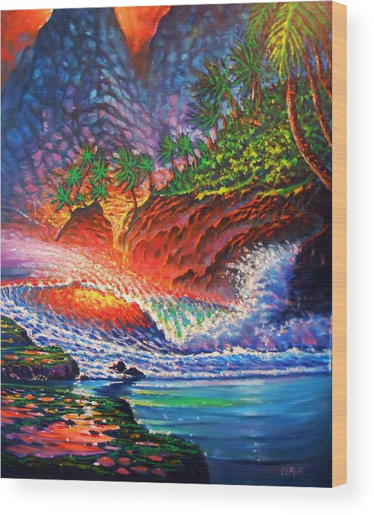 Tropical Island Seascape Sand Surf Waves Breakers Rocks Cliffs Reflections Palms Forest Plants Volcano Cliffs Pools Moss Seaweed Crest Glow Glowing Moving Fire Burning Sky Colors Wood Print featuring the painting Tropical Color Mosaic by Joseph  Ruff