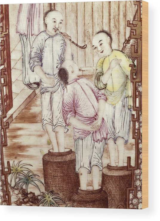 Vertical Wood Print featuring the photograph Vase Depicting Men Packing Tea by Everett