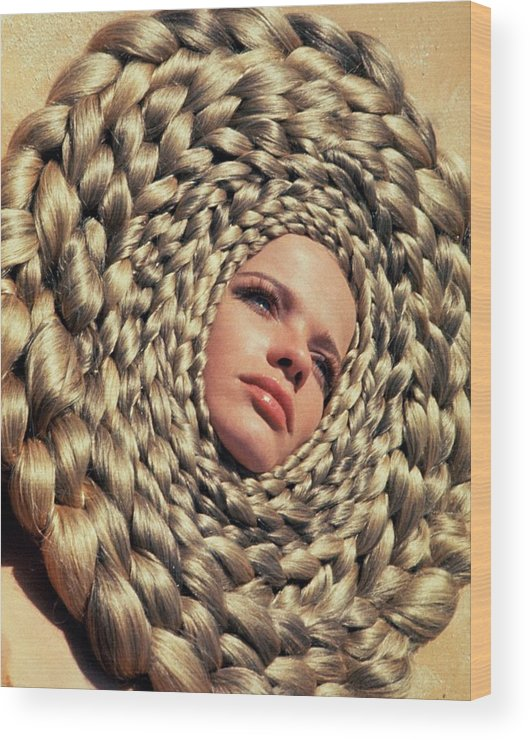 Fashion Wood Print featuring the photograph Veruschka Von Lehndorff's Head Surrounded by Franco Rubartelli