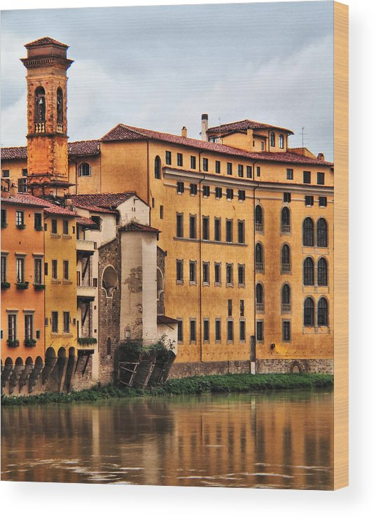 Florence Wood Print featuring the digital art View Of Florence Along The Arno River by Greg Matchick