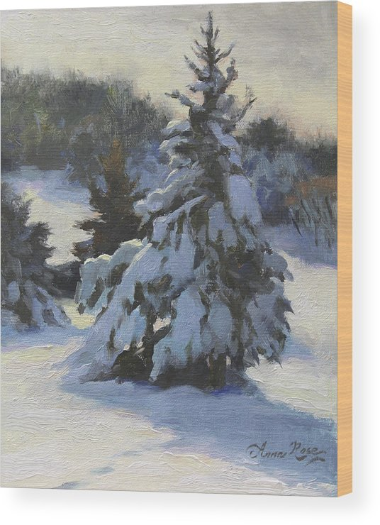Trees Wood Print featuring the painting Winter Adornments by Anna Rose Bain