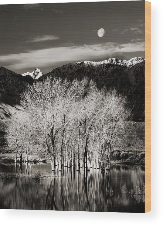 Bishop Wood Print featuring the photograph Winter Sunrise And Moonset by Josh Miller
