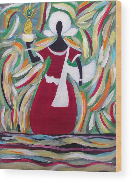 Acrylic Painting Wood Print featuring the painting Woman Carrying Pineapple by Fatima Neumann