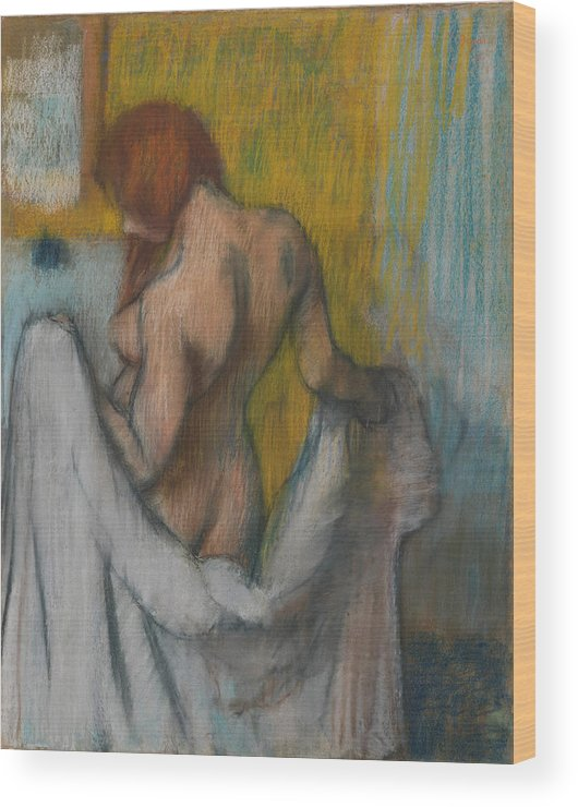 Edgar Degas Wood Print featuring the painting Woman With A Towel by Edgar Degas