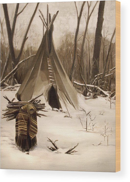 Native American Wood Print featuring the painting Wood Gatherer by Nancy Griswold