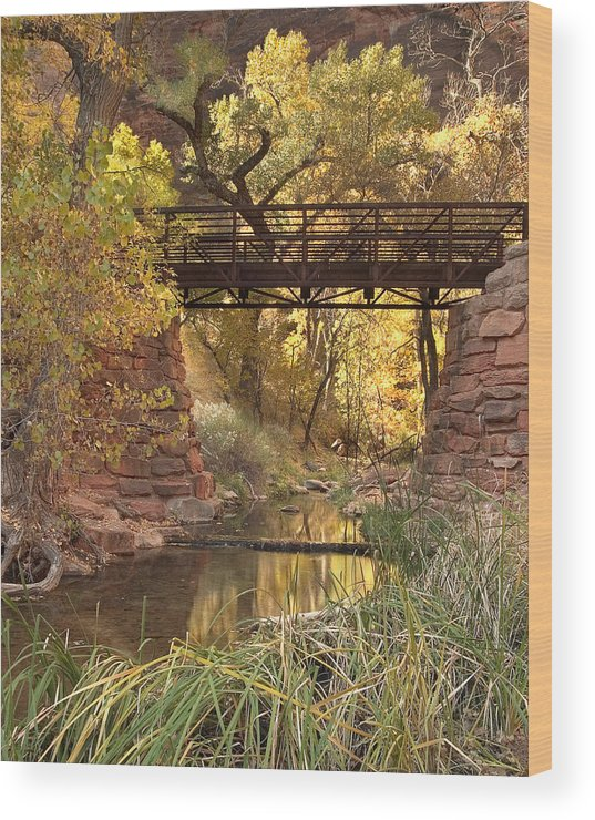 3scape Wood Print featuring the photograph Zion Bridge by Adam Romanowicz