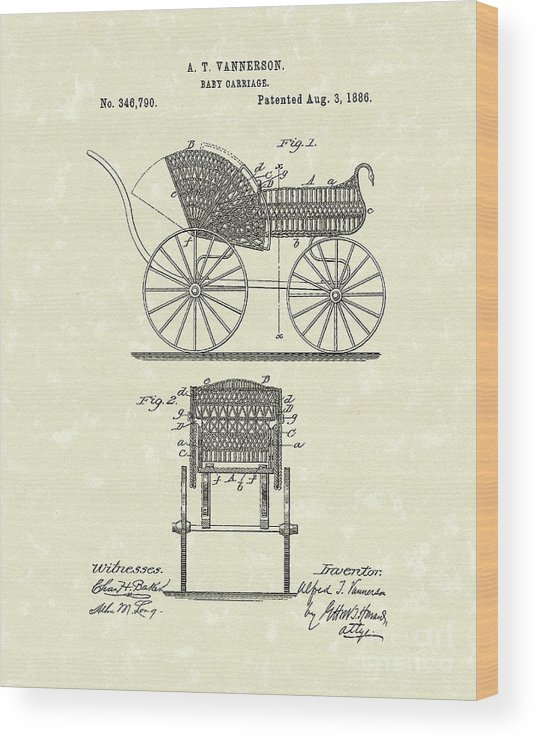 Vannerson Wood Print featuring the photograph Baby Carriage 1886 Patent Art by Prior Art Design