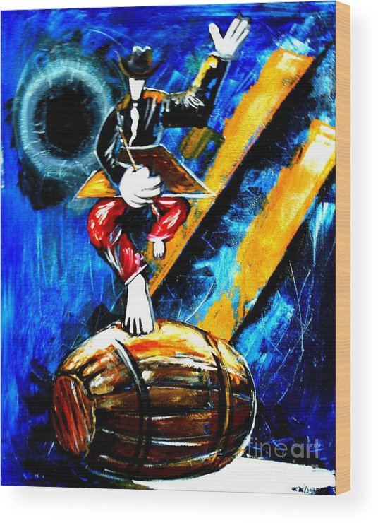 Artist Wood Print featuring the painting Painting On A Barrel by Real ARTIST SINGH