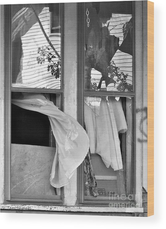 Black And White Photos Wood Print featuring the photograph Untitled- 2012 by Tammy Ishmael - Eizman