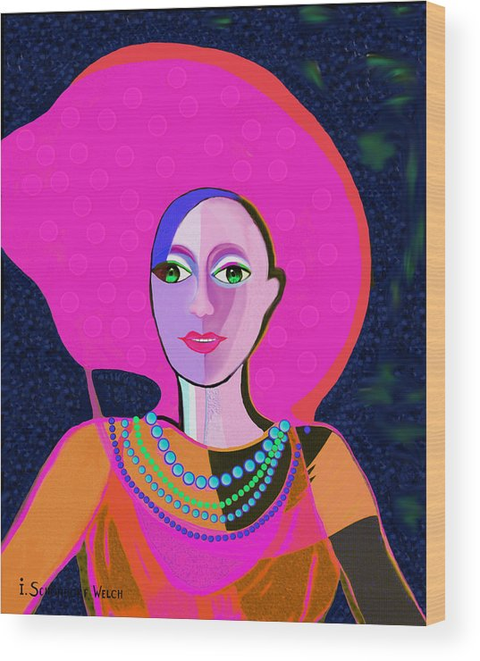 656 Wood Print featuring the painting 656 - Woman With Summer Hat by Irmgard Schoendorf Welch