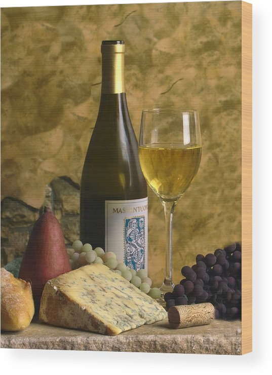 Wine Wood Print featuring the photograph A Glass Of Chardonay by Mel Felix