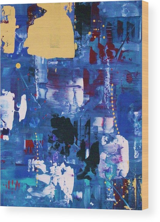 Abstract-expressionism Wood Print featuring the painting A Treaty To Be Signed With Guests by Charlotte Nunn
