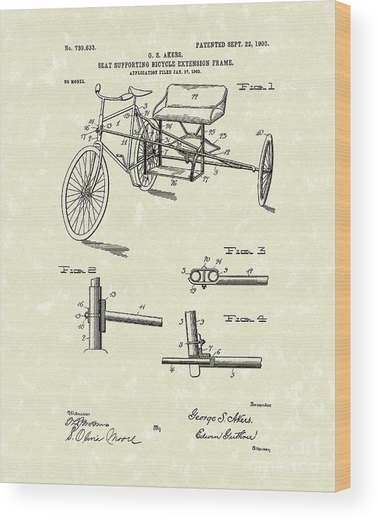Akers Wood Print featuring the drawing Bicycle Extension Frame 1903 Patent Art by Prior Art Design