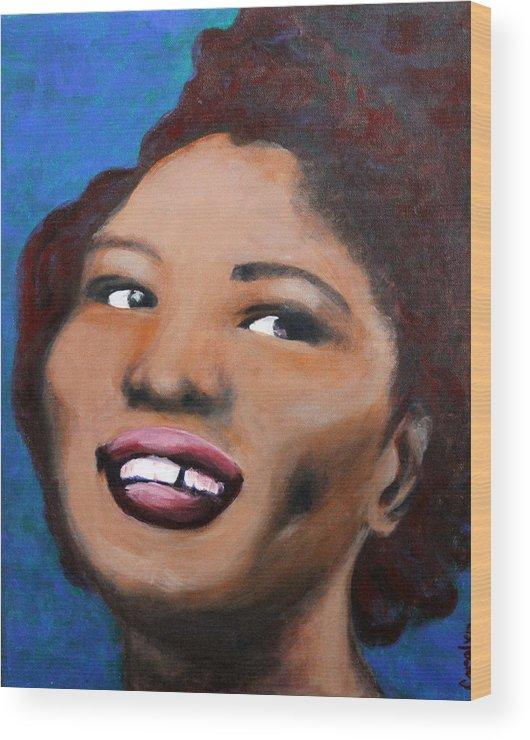 Blues Wood Print featuring the painting Big Mama Thornton by Carolyn Veldbloem