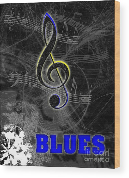 Instruments Wood Print featuring the digital art Blues Music Poster by Linda Seacord