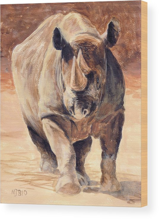 Africa Wood Print featuring the painting Charging Rhino by Michael Beckett