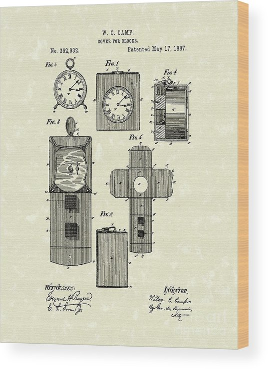 Camp Wood Print featuring the drawing Clock Cover 1887 Patent Art by Prior Art Design