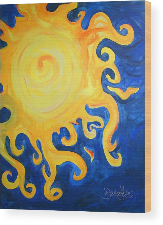 Sun Wood Print featuring the painting du Soleil by SarahMarie Bostron