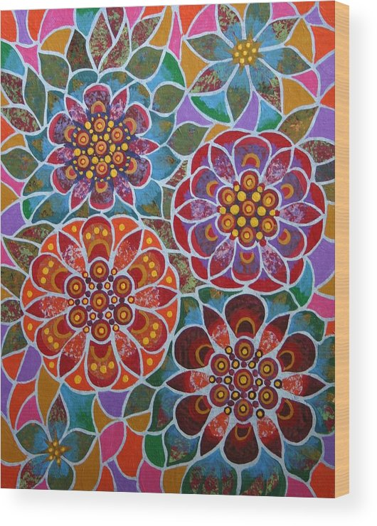 Stained Glass Wood Print featuring the mixed media Floral Window by Bob Craig