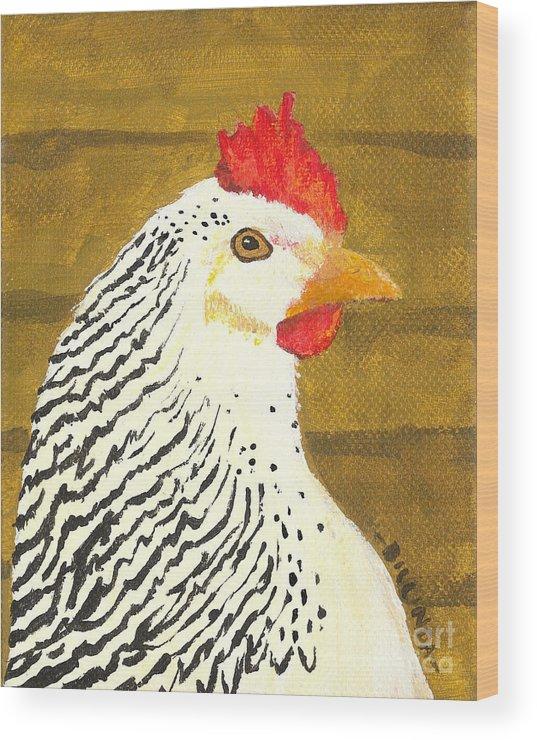 Painting Wood Print featuring the painting Fowl Mood by Billinda Brandli DeVillez
